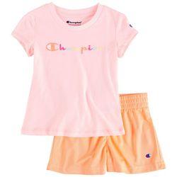 Champion Toddler Girls 2-pc. Rainbow Logo Script Set