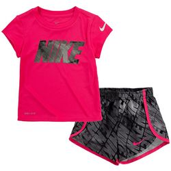 Toddler Girls Dri-Fit Solid Tee & Sprinter Shorts Set