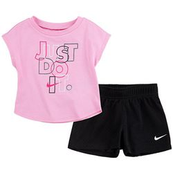 Toddler Girls Just Do It Tee & Mesh Shorts Set