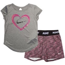 Nike Toddler Girls Heart Tee & Stripe Cross Dye Shorts Set