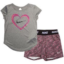 Toddler Girls Heart Tee & Stripe Cross Dye Shorts Set