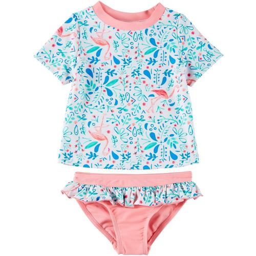 Carters Infant Girls Pink Swimming Suit Hawaiian Rash Guard Cover Up Swim