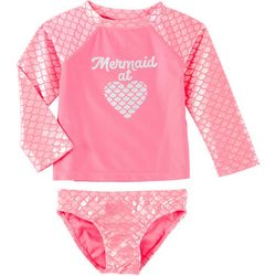 Baby Girls 2-pc. Mermaid Rashguard Swimsuit