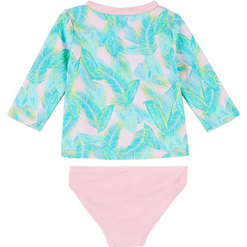 Floatimini Little Girls Tropical Feather Long Sleeve Rash Guard Set