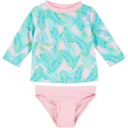 Toddler Girls 2-pc. Feather Rashguard Swimsuit