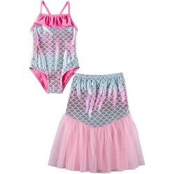 Toddler Girls Mermaid Ruffle Swimsuit With Skirt
