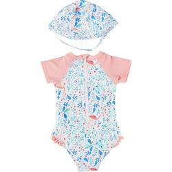 Baby Girls 2-pc. Flamingo Rashguard Swimsuit Set
