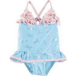 Floatimini Baby Girls Unicorn Petal Swimsuit