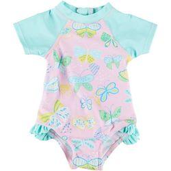 Floatimini Baby Girls Butterfly Rashguard Swimsuit