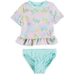 Toddler Girls 2-pc. Butterfly Rashguard Swimsuit