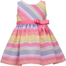 Toddler Girls Sleeveless Linen Stripe Dress