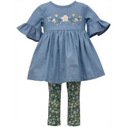 Toddler Girls Chambray Floral Top & Leggings Set