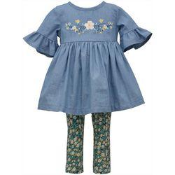 Toddler Girls Chambray Floral Top & Leggings Set