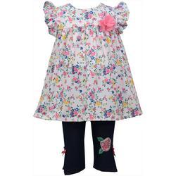 Baby Girls Flutter Sleeve Floral Leggings Set