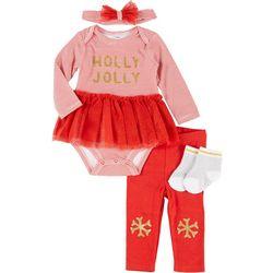 Baby Girls 4-pc. Holly Jolly Clothing Set