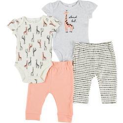 Baby Girls 4-pc. Giraffe Pant Set