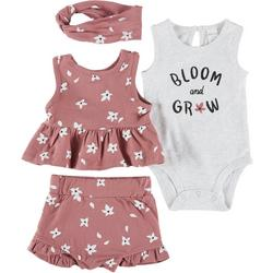 Baby Girls 4-pc. Bloom And Grow Floral Short Set
