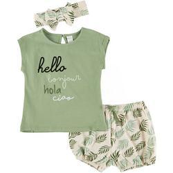 Baby Girls 3-pc. Hello Short Set