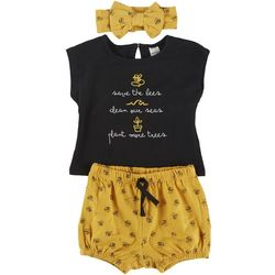 PL Baby Baby Girls 3-pc. Save The Bees Short Set