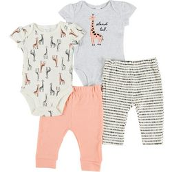 PL Baby Baby Girls 4-pc. Giraffe Pant Set