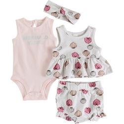 Baby Girls 4-pc. Shell Short Set