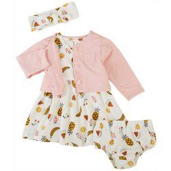 PL Baby Baby Girls 4-pc. Fruit Dress & Cardigan Set