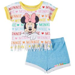Baby Girls Minnie Mouse Fringe Tee & Shorts Set