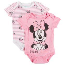 Minnie Mouse Baby Girls 2-pk. Minnie Cuddles Bodysuit Set