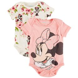Minnie Mouse Baby Girls 2-pk. Minnie Floral Bodysuit Set