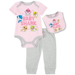 Baby Shark Baby Girls 3-pc. Sparkly Doo Doo Jogger Pants Set