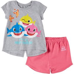 Baby Shark Toddler Girls Baby Shark Sparkly Shorts Set