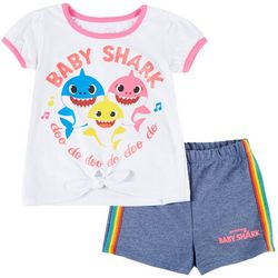 Baby Shark Toddler Girls 2-pc. Tie Front Shorts Set