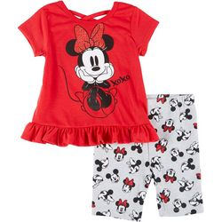 Toddler Girls Minnie Mouse Ruffel Hem Shorts Set