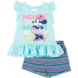 Toddler Girls Minnie Mouse Rainbow Stripe Shorts Set
