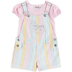 Toddler Girls Sequin Unicorn Shortalls Set