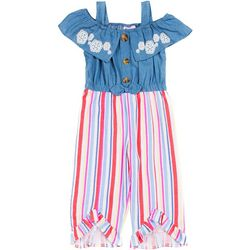 Toddler Girls Stripe Off The Shoulder Jumpsuit
