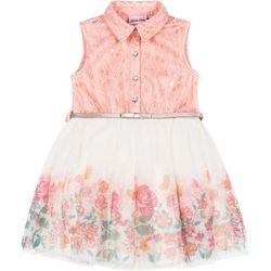 Little Lass Toddler Girls Floral Tulle Dress