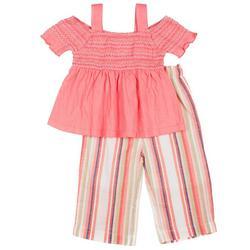 Toddler Girls Off Shoulder Top & Stripe Pant Set