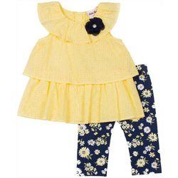 Little Lass Toddler Girls Ruffle Eyelet Leggings Set