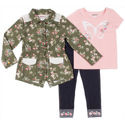 Little Lass Toddler Girls 3-pc. Floral Jacket & Leggings Set