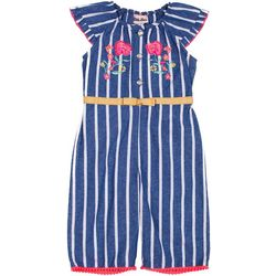 Little Lass Baby Girls Chambray Stripe Jumpsuit