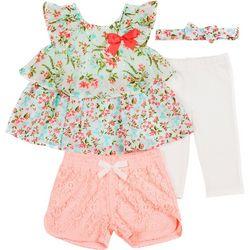 Little Lass Baby Girls 4-pc. Floral Design Chiffon