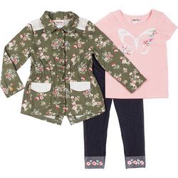 Baby Girls 3-pc. Floral Butteryfly Jacket Set