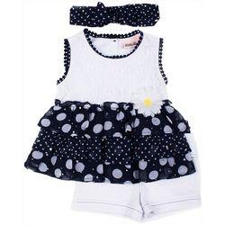 Little Lass Baby Girls 3-pc. Lace Polka Dot
