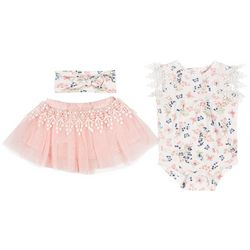 Baby Girls 3-pc. Butterfly Bodysuit & Tutu Set