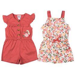 Little Lass Baby Girls 2-pk. Solid & Floral Romper Set