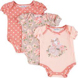 Baby Girls 3-pk. Floral Fox Bodysuits