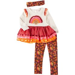 Little Lass Toddler Girls 3-pc. Turkey Leggings Set