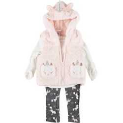 Little Lass Baby Girls 3-pc. Unicorn Fur Vest Set