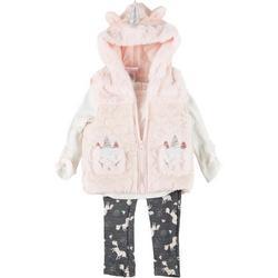 Baby Girls 3-pc. Unicorn Fur Vest Set